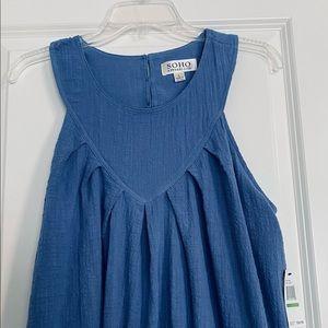 NWT Soho Apparel sleeveless blue summer tent dress